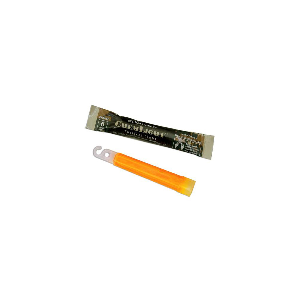 "Cyalume ChemLight Military Grade 4"" 6 Hour Chemical Light Sticks - Orange"