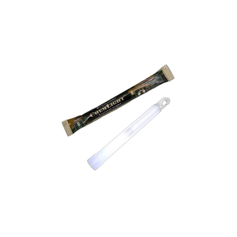 """Cyalume ChemLight Military Grade 6"""" 8 Hour Chemical Light Sticks - White"""